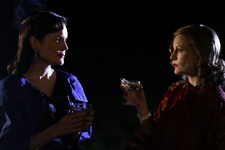 Elizabeth McGovern as 'Ellen Doubleday' (left) and Geraldine Somerville as 'Daphne du Maurier' in the BBC drama Daphne on BBC Two.