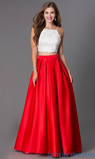 Floor Length Two Piece Spaghetti Strap Dress by Dave and Johnny at SimplyDresses.com