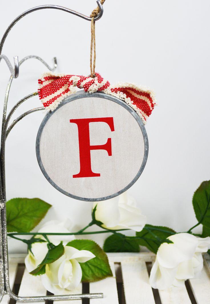 wood initial ornament-f