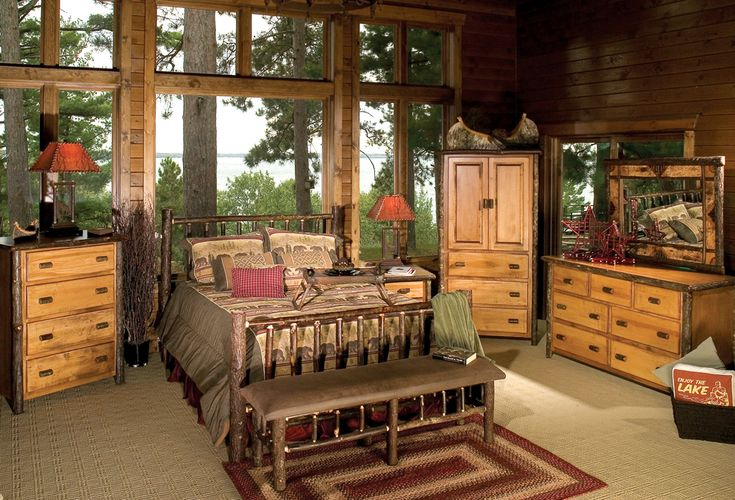 An alternative bedroom set with a log based theme.