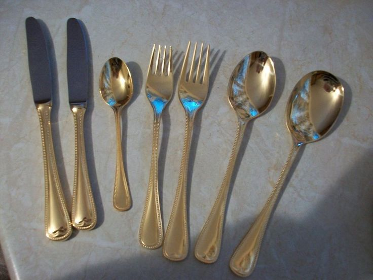 44 Pieces SBS Bestecke Solingen 18/10 23/24 Gold Plated Royal Collection Cutlery