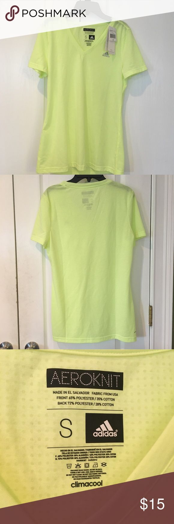 Adidas workout shirt Super cute adidas workout tee. Bright neon yellow color. Perfect for running or any activity. New with tags and perfect condition. Free gift with every purchase!  Please ask questions and make offers!!! adidas Tops Tees - Short Sleeve