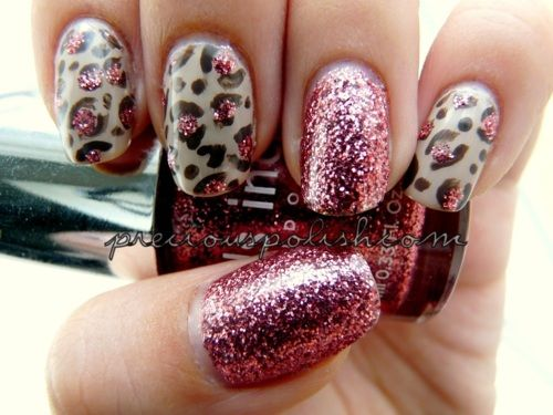 Neutral leopard print with rose glitterCheetahs Nails, Nails Art, Glitter Nails, Nails Ideas, Animal Prints, Nails Polish, Leopards Prints, Pink Leopard, Leopards Nails