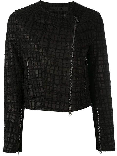 Shop Federica Tosi embroidered biker jacket.