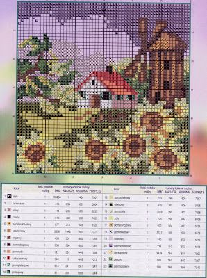House in all seasons 3 of 4 - free cross stitch pattern