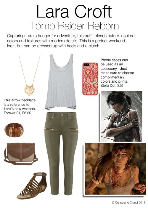 Inspired by Lara Croft from Tomb Raider Reborn  Top: Joie - Ira Top, $68 / Pants: H - Ankle Length Trousers, $39 / Sandals: Couture Candy - Dakota Sandal, $130 / Purse: Zalando - Cross Body Bag, $86 / Necklace: Forever 21 - Graduated Arrow Necklace, $6.80 / Bracelet: Zappos - Guess Wood Stretch Bracelet, $30 / Phone Case: Stella & Dot - Decorative Red Ikat Print Case, $29