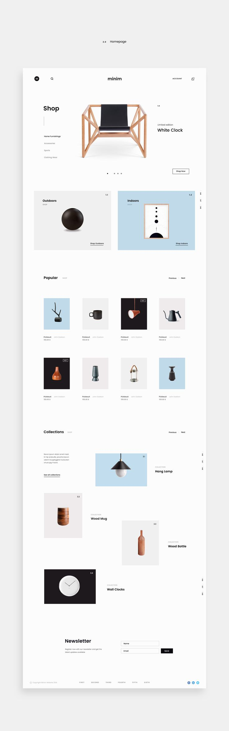 Minimalist e-commerce website design with clean and easy interface