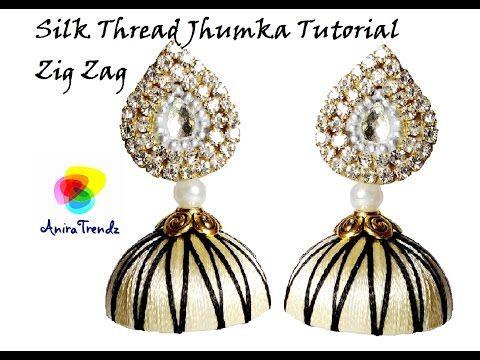 How to make silk thread designer Jhumka Zig Zag Model - YouTube