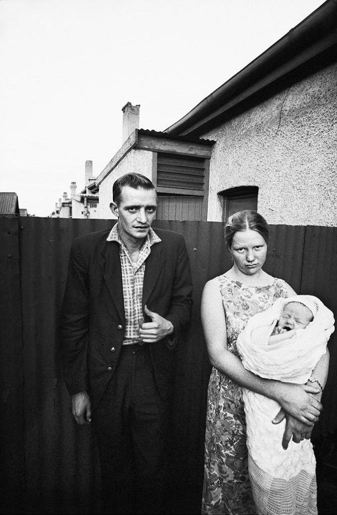 David Goldblatt, A Railwayman and his family in the Backyard of their Home in the Dubbeldekkers, Bloemfontein, Free State, 1965