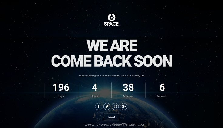 Space is a responsive #HTML template for #comingsoon / under construction website with a #countdown timer, Ajax subscription form, social icons and multiple homepage layouts download now➩ https://themeforest.net/item/space-responsive-coming-soon-html-template/19446132?ref=Datasata
