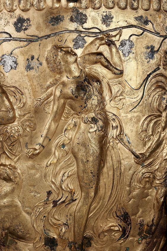 Derveni Krater (detail) - Gilded bronze cinerary krater, from Derveni, Greece, detail,4th Century BC, Ancient Greece