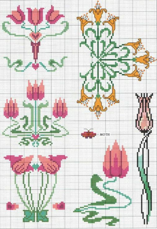 Gallery.ru / Photo # 1 - KWIATY 4 - aaadelayda art nouveau flowers cross stitch pattern free