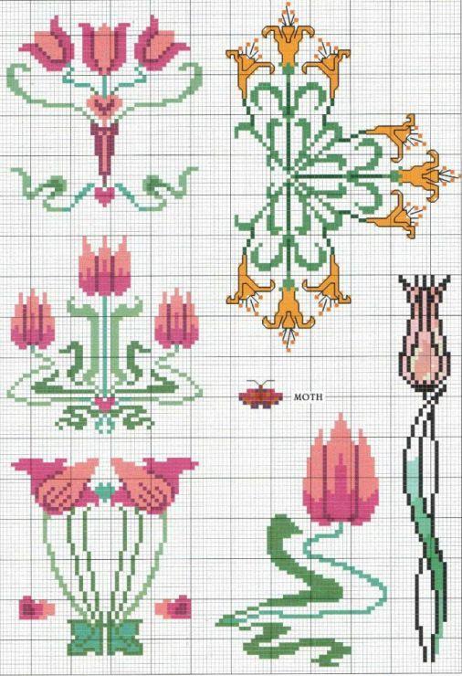 Gallery.ru / Photo # 1 - KWIATY 4 - aaadelayda art nouveau flowers cross stitch pattern free