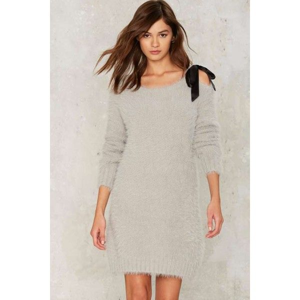 Glamorous Cleo Sweater Dress ($98) ❤ liked on Polyvore featuring dresses, grey, textured dress, gray party dress, glamorous party dresses, grey party dresses and grey sweater dress