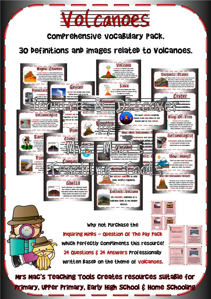 Volcanoes Vocabulary Posters is a comprehensive vocabulary pack with 30 definitions and images related to Volcanoes. Designed to be used during independent research, group learning, whole class learning and more! $2.50! http://designedbyteachers.com.au/marketplace/volcanoes-vocabulary-posters/