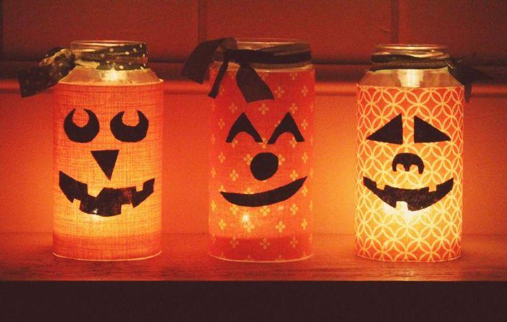 Lanterne di Halloween con barattoli in vetro e stoffa – Tutorial