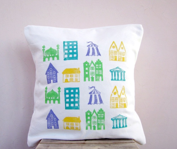 Kid's throw pillow, colorful house print on organic cotton, eco friendly children, nursery decor.