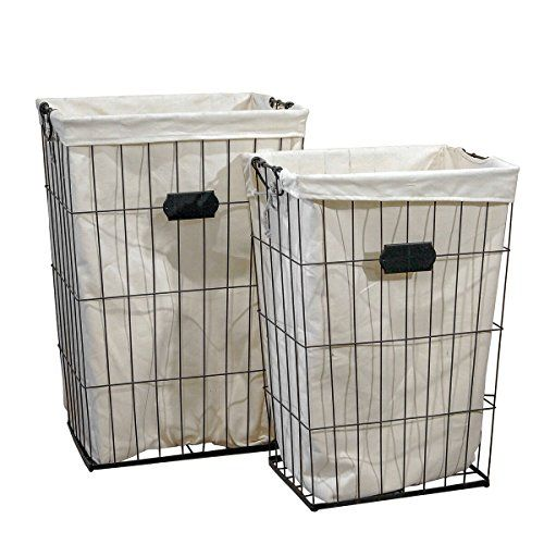 Vintage Inspired Set Of Two Tall Metal Wire Laundry Baskets With