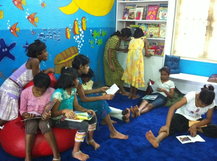 The girls reading in their new library ~ Mangalore, India
