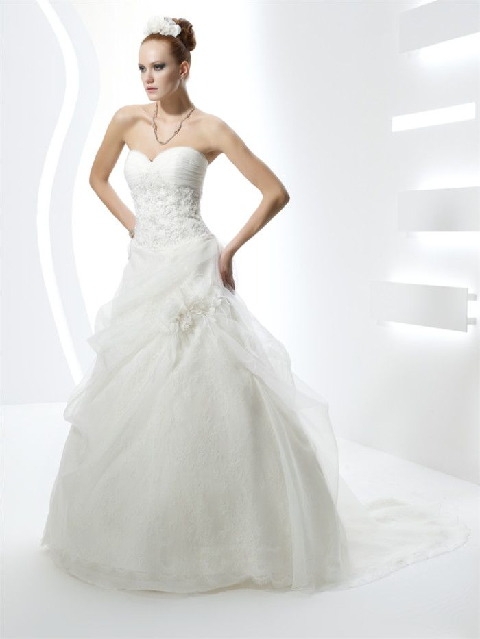 AFN strapless  sweetheart white wedding gowns