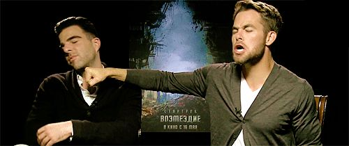 21 Of The Most Adorable Chris Pine GIFs. I love that half of these are he and Zachary Quinto.