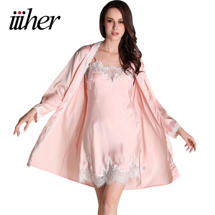 Iiiher Batas Vestido de dama de Honor Establece Encaje Sexy Traje de Las Mujeres ropa de Dormir Ropa de Dormir Trajes Pijama Para Mujer ropa de Dormir de Noche Faldas