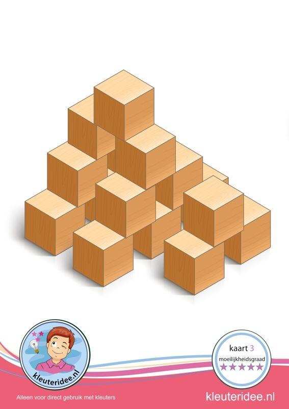 Bouwkaart 3 moeilijkheidsgraad 5 voor kleuters, kleuteridee, Preschool card building blocks with toddlers 10, difficulty 5, free printable.