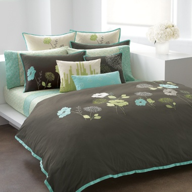 dkny oasis carbon lime green floral applique queen full duvet comforter cover