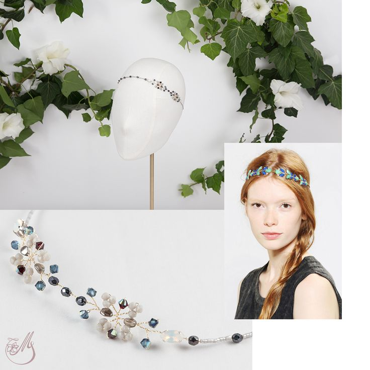 It's the weekend, so we're in the mood for dark blue and chrome #glass #beads coming together with luster blue #Miyuki beads and #Swarovski elements in this simple yet precious #headband called #BytheLake.  Wear it in those moments that will become treasured memories. #meetmeinthegarden #capsulecollection #handmade