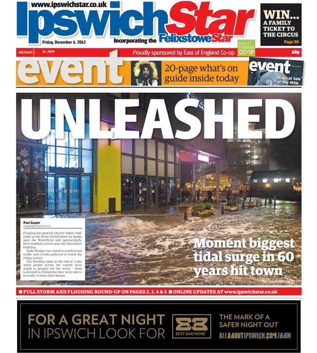 Storms in Ipswich: Newspaper Front