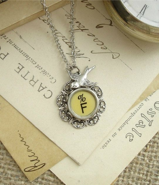 95 best give me an f images on pinterest alphabet letters typewriter key jewelry letter f vintage typewriter key necklace yellow initial pendant with garden sparrow and silver flower filigree altavistaventures Choice Image