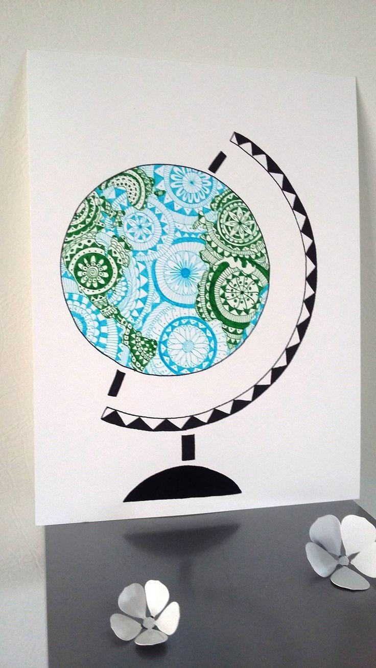 Affiche Illustration Mappemonde , Globe terrestre : Affiches, illustrations, posters par stefe-reve-en-feutrine