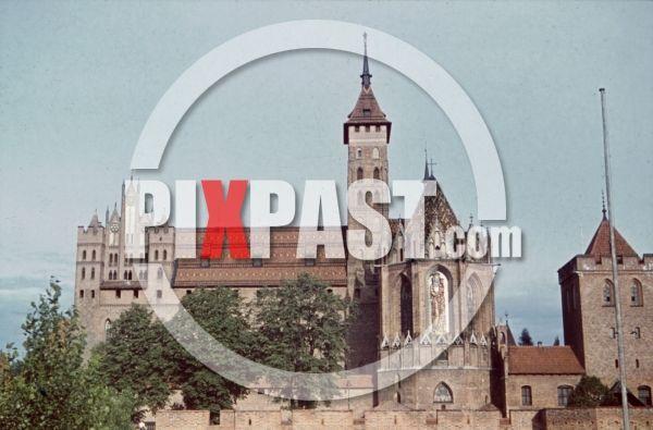 WW2 color photo slide FARBDIA agfacolor - castle of Marienburg, Poland 1941