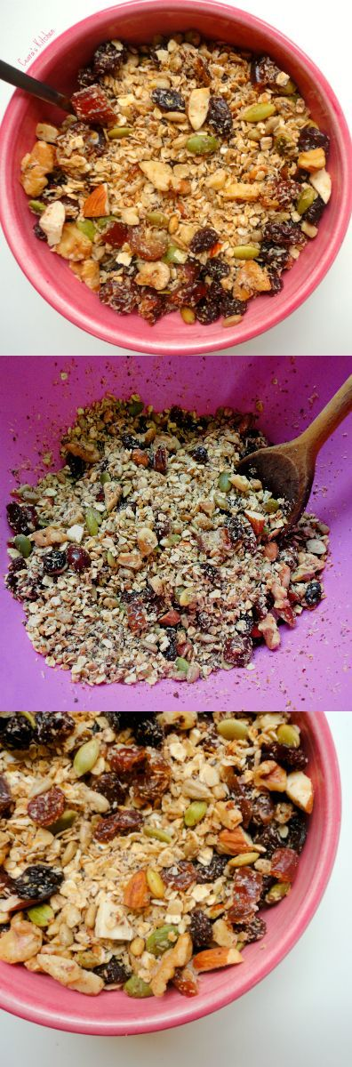 This healthy granola recipe is rustic, hearty + slightly sweet! Gluten free and vegan