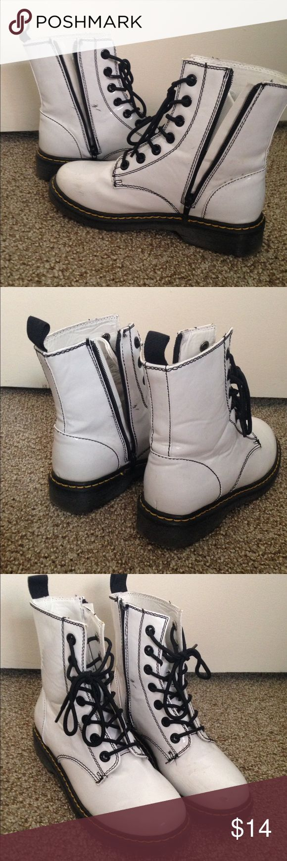 Doc Marten style white boots A few scuffs on the hard plastic material but still look great! They're very sturdy Shoes Combat & Moto Boots