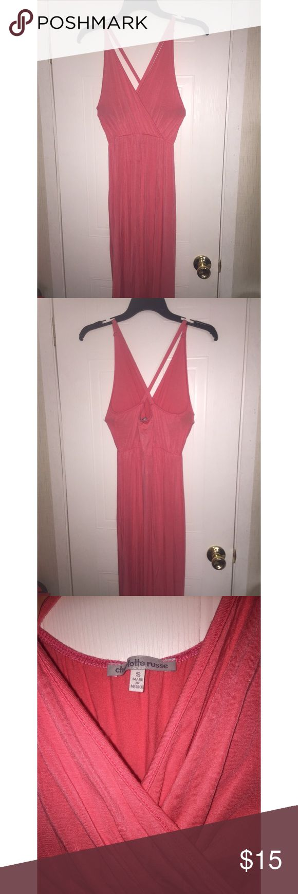 Charlotte Russe coral maxi dress Coral maxi dress with two slits. Charlotte Russe Dresses Maxi