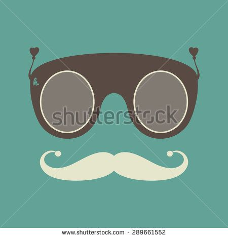 Vintage hipster sunglasses and mustache vector object. #hipster #flatdesign #vectorpattern #patterndesign