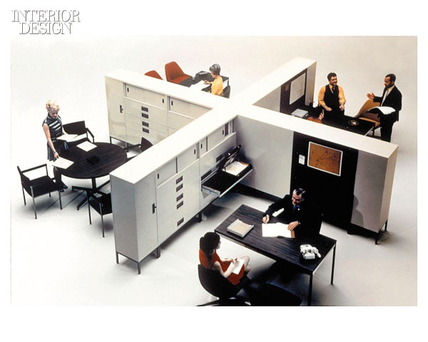 Steelcase launched its Mobiles system in 1968; they were influential as a first draft for the 1971 debut of Movable Walls, this manufacturer's first comprehensive systems-furniture line.  via Interior Design