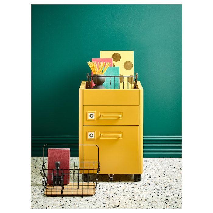 Ikea Cassettiera Con Rotelle.Idasen Cassettiera Con Rotelle Ocra Bruna 42x61 Cm Ikea