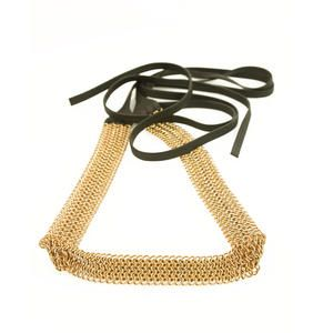 Authentic Prada Gold Ring Link Chain & Black Leather Belt -SZ 34/85