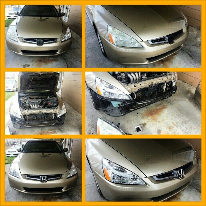 DIY Honda Accord Headlight replacement.  Found oem Honda emblem online. Also an aftermarket headlight housing on JCWhitney. Total cost around $85, took about 3 hours. Looks like new.