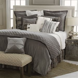 Delectably Yours Whistler Grey Velvet Bedding Set & Accessories by HiEnd Accents is reminiscent of a luxury ski lodge bedroom.  #DelectablyYours Cabin Lodge Bed and Bath Decor