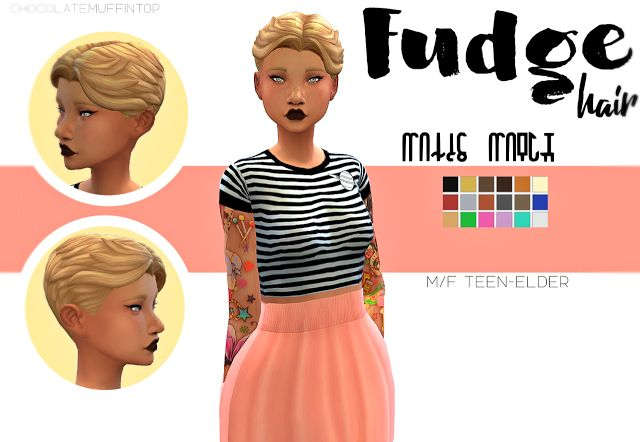 Sims 4 CC's - The Best: Fudge Hair for Males and Females by ChocolateMuffi...