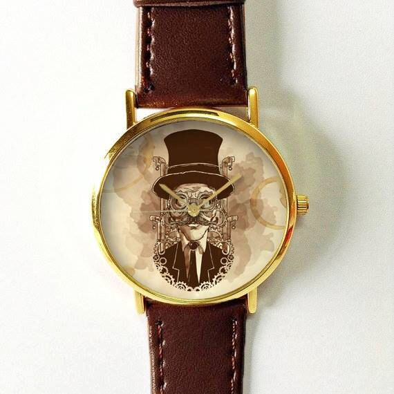 Steampunk Gentleman Watch Fashion Accessories Women's Watches Men Jewelry Leather Watch Spring Freeforme 2016 Unique Moustache Vintage Style by FreeForme on Etsy https://www.etsy.com/listing/274163062/steampunk-gentleman-watch-fashion