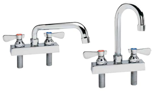 """MATERIAL/FINISH  Polished chrome plated low lead brass alloy valve body and spout; chrome plated low lead brass alloy valve stems and bonnets; polished chrome plated zinc die-cast handles with stainless steel screws.  MOUNTING:  Furnished with 1/2""""-14 NPS male inlets on 4"""" centers, with mounting hardware and 3/8"""" compression sleeves."""
