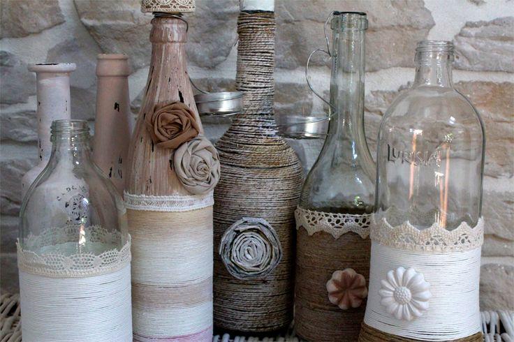 Come decorare bottiglie di vetro how to decorate glass - Bottiglie vetro decorate ...