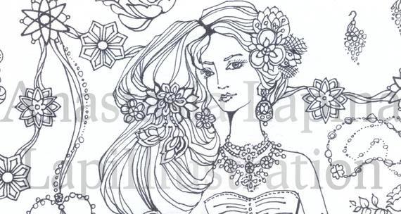 Feminine Chic Fashion Illustration Girl Dress Bag Shoes Etsy Flower Illustration Line Art Illustration Girl
