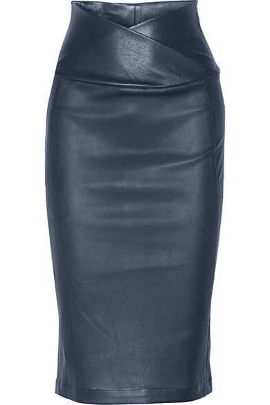 Zero+MariaCornejo - Nebi leather pencil skirt, storm blue