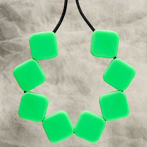 Silicone Teething Bling necklace. Worn by mum so baby can chew!