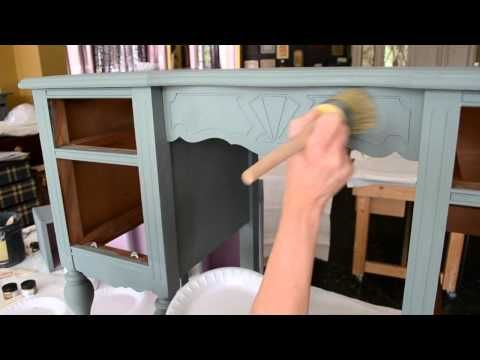 Annie Sloan Chalk Paint! Best tutorial I've seen yet, you can see her do it and she explains well too. Even good music! lol